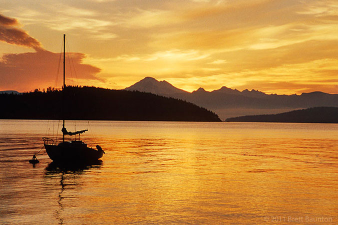 San Juan Islands sunset, Sailboat, Mount Baker